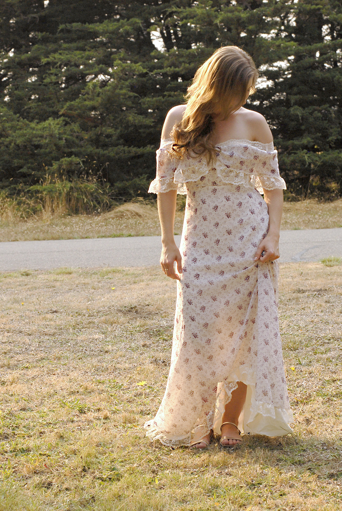floral and lace vintage maxi dress